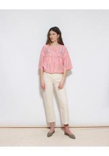 jedwabna różowa koszula